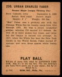 1940 Play Ball #230  Red Faber  Back Thumbnail