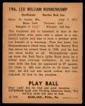 1940 Play Ball #196  Nonny Nonnenkamp  Back Thumbnail
