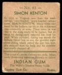 1933 Goudey Indian Gum #63  Simon Kenton   Back Thumbnail