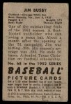 1952 Bowman #68  Jim Busby  Back Thumbnail