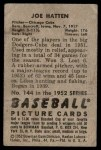 1952 Bowman #144  Joe Hatten  Back Thumbnail