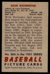 1951 Bowman #264  Don Richmond  Back Thumbnail