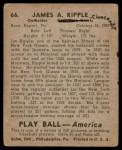 1939 Play Ball #66  Jimmy Ripple  Back Thumbnail
