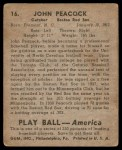 1939 Play Ball #16  Johnny Peacock  Back Thumbnail