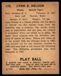 1940 Play Ball #135  Lynn Line Drive Nelson  Back Thumbnail