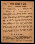 1940 Play Ball #130  Clyde Milan  Back Thumbnail
