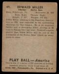 1939 Play Ball #49  Ed Miller  Back Thumbnail