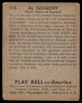 1939 Play Ball #113  Al Schacht  Back Thumbnail
