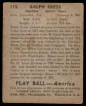 1939 Play Ball #115  Red Kress  Back Thumbnail