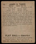1939 Play Ball #14  Jim Tabor  Back Thumbnail