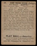 1939 Play Ball #69  Elbie Fletcher  Back Thumbnail