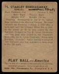 1939 Play Ball #75  Frenchy Bordagaray  Back Thumbnail