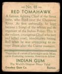 1933 Goudey Indian Gum #48  Red Tomahawk   Back Thumbnail
