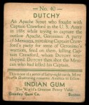 1933 Goudey Indian Gum #40  Dutchy   Back Thumbnail