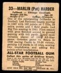 1948 Leaf #33  Pat Harder  Back Thumbnail