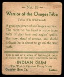 1933 Goudey Indian Gum #18   Warrior of the Osages Tribe  Back Thumbnail
