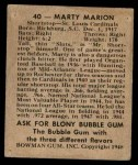 1948 Bowman #40  Marty Marion  Back Thumbnail