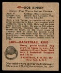 1948 Bowman #49  Bob Kinney  Back Thumbnail