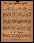 1940 Play Ball #177  Home Run Baker  Back Thumbnail