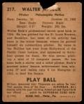 1940 Play Ball #217  Walter Beck  Back Thumbnail