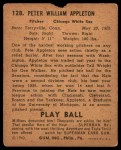 1940 Play Ball #128  Pete Appleton  Back Thumbnail
