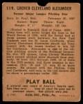 1940 Play Ball #119  Grover Alexander  Back Thumbnail