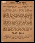 1940 Play Ball #133  Jimmie Foxx  Back Thumbnail