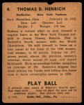 1940 Play Ball #4  Tommy Henrich  Back Thumbnail