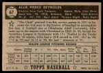 1952 Topps #67  Allie Reynolds  Back Thumbnail
