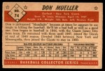 1953 Bowman #74  Don Mueller  Back Thumbnail