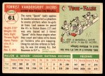 1955 Topps #61  Spook Jacobs  Back Thumbnail