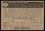 1952 Topps #63  Howie Pollet  Back Thumbnail