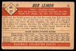 1953 Bowman B&W #27  Bob Lemon  Back Thumbnail