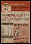 1953 Topps #42  Gus Zernial  Back Thumbnail