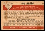 1953 Bowman #76  Jim Hearn  Back Thumbnail