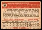 1952 Topps #141 CRM Clint Hartung  Back Thumbnail