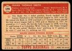 1952 Topps #179 CRM Frank Smith  Back Thumbnail