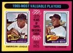 1975 Topps #203   -  Zoilo Versalles / Willie Mays 1965 MVPs Front Thumbnail