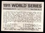 1971 Fleer World Series #9   1911 Giants / A's (Home Run Baker) -   Back Thumbnail