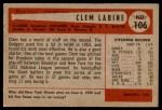 1954 Bowman #106  Clem Labine  Back Thumbnail