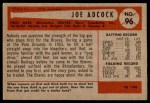 1954 Bowman #96  Joe Adcock  Back Thumbnail