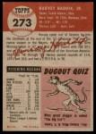 1953 Topps #273  Harvey Haddix  Back Thumbnail