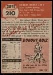 1953 Topps #210  Bob Cerv  Back Thumbnail