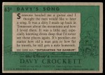 1956 Topps Davy Crockett #63 GRN  Davy's Song  Back Thumbnail