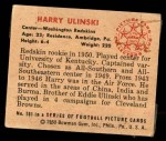1950 Bowman #101  Harry Ulinski  Back Thumbnail