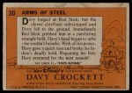 1956 Topps Davy Crockett #30 ORG  -    Arms of Steel  Back Thumbnail