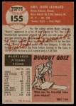 1953 Topps #155  Dutch Leonard  Back Thumbnail