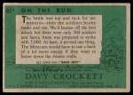 1956 Topps Davy Crockett #61 GRN  On the Run  Back Thumbnail