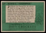 1956 Topps Davy Crockett #53 GRN  Bowie's 'Toothpick'  Back Thumbnail