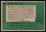 1956 Topps Davy Crockett #69 GRN  Over the Top  Back Thumbnail